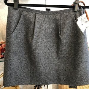 J CREW Gray Wool Blend Pleated Accent Mini Skirt
